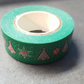 1 x 10m Roll Adhesive Craft Washi Tape - 15mm - Christmas Trees & Snowflakes