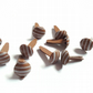 25 x Scrapbooking Brads - 14mm - Round - Brown - Stripes