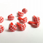 25 x Scrapbooking Brads - 14mm - Round - Red - Checks
