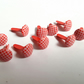25 x Scrapbooking Brads - 14mm - Round - Red - Mini Checks