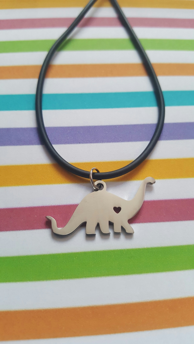 Dinosaur Necklace (Black Rubber Cord)