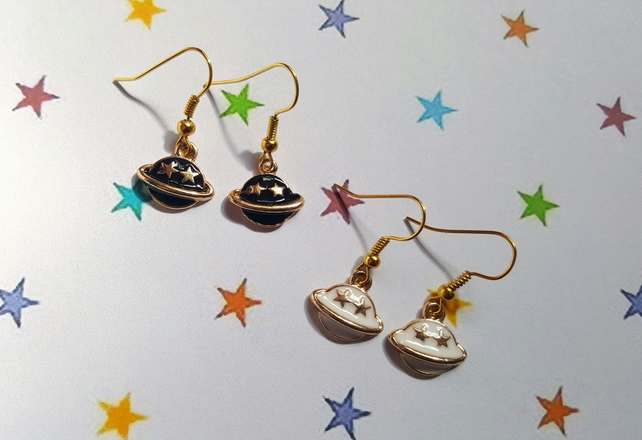 Enamel Planet Earrings - White