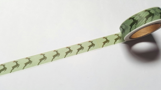 1 x 10m Roll Adhesive Craft Washi Tape - 15mm - Green Striped Reindeer