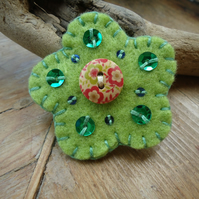 Flower Brooch, Lime Green