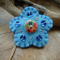 Flower Brooch, Pale Blue