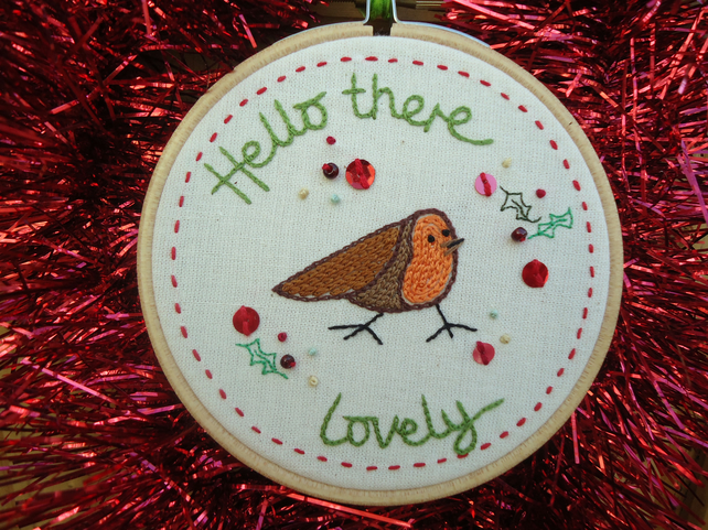Festive Robin Embroidered Hoop, Red Border