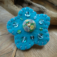 Flower Brooch, Turquoise