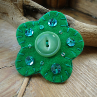 Flower Brooch, Forest Green