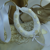Hand-Stitched Broderie Anglaise Bridal Horseshoe, Button Embellishment