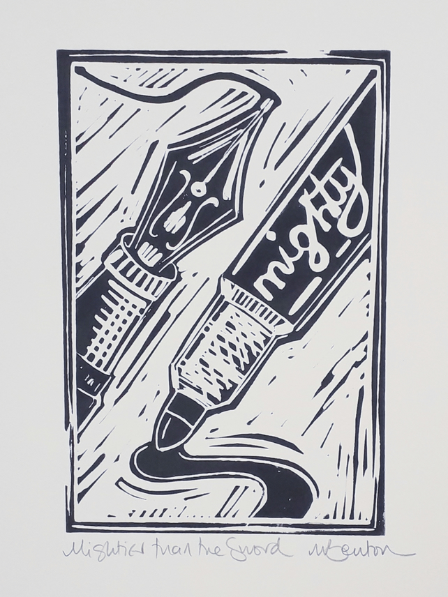 'Mightier than the Sword' Lino Print