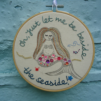 Mermaid Hoop Embroidery, Pinks