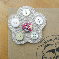 Hessian Flower Brooch, Pinky Purple Centre Button (no.2)