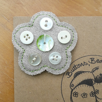 Hessian Flower Brooch, Pearly Green Centre Button (no.3)
