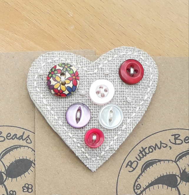 Hessian Heart Brooch, Reds and Pinks (no.1)