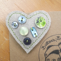 Hessian Heart Brooch, Greens and Blues (no.2)