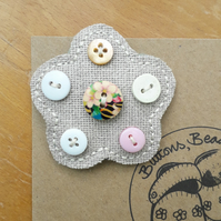 Hessian Flower Brooch, Stripey Centre Button (no.1)