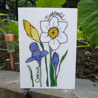 Daffodil & Crocus Greetings Card