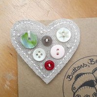 Hessian Heart Brooch, Multi (no.4)