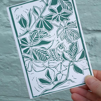 'Underneath the Trees' Greetings Card, Green Lino Print