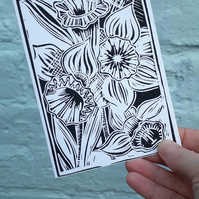 'A Burst of Spring' Greetings Card, Black Lino Print
