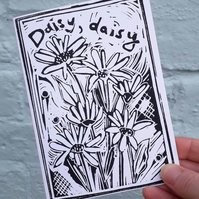 'Daisy Daisy' Greetings Card, Black Lino Print