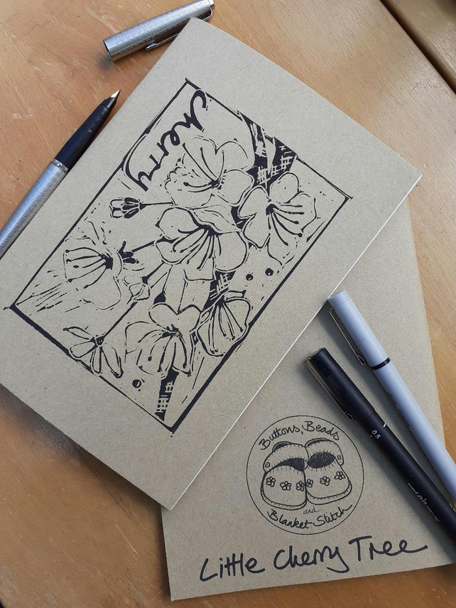 'Little Cherry Tree' Hand Printed Sketchbook