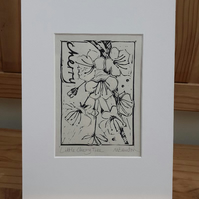 'Little Cherry Tree' Linoprint (on Okawara Select Paper)