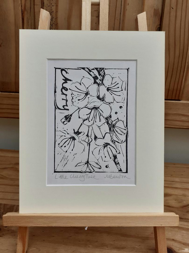'Little Cherry Tree' Linoprint (on Hosho Select Paper)