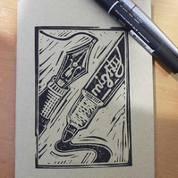 'Mightier than the Sword' Hand Printed Sketchbook (Kraft)