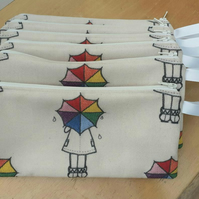 Zipped Pencil Pouch, 'Ella' Rainbow Umbrella Fabric
