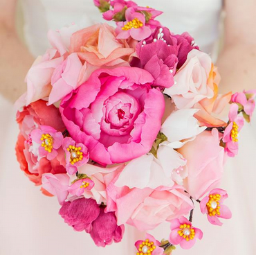 Natural silk flower blush and pink bridal bouquet - cherry blossom, tea roses an