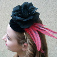 Black Cocktail Hat Red cocktail hat with Feathers Black Flower Headpiece