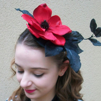 Red Magnolia Hat Red Cocktail hat Black Cocktail Hat Flower Ascot hat Races Hat