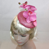 Rose Pink Cocktail Hat Pink Orchid Hat Fascinator Hat for races pink wedding hat