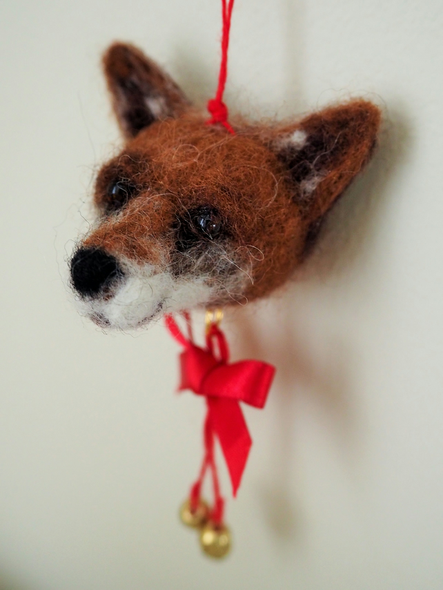 Needle Felted Fox Head Bauble Decoration Folksy