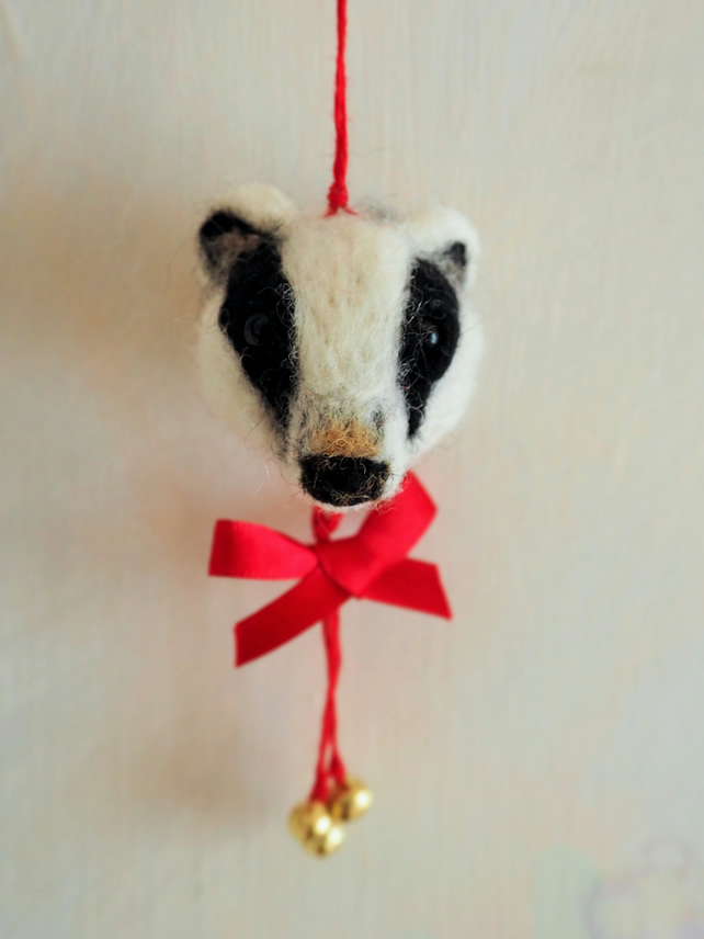 Needle felted badger head bauble decoration folksy for Badger christmas decoration