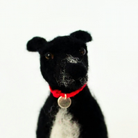 Needle Felted Black Greyhound