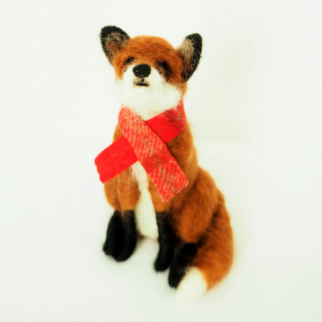 Needle Felted Fox In Scarf