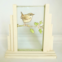 Papercut Wren in Art Deco Frame