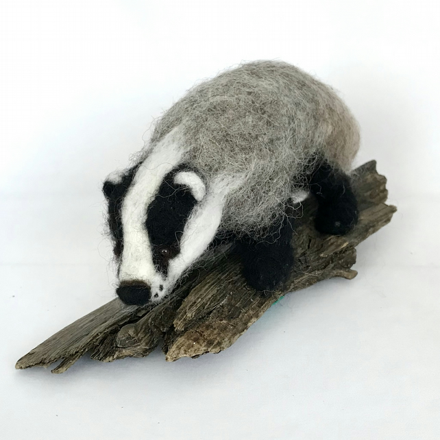 Needle Felted Badger on Driftwood Base