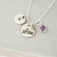 Personalised Travel Gift - Initial and Birthstone Necklace in Silver