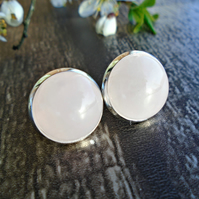 Rose Quartz Earrings - Gemstone Stud Earrings
