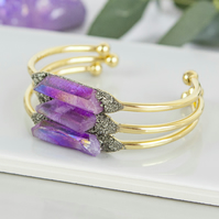 Raw Crystal Bracelet - Purple Bangle - Purple Crystal Jewellery