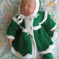 Beautiful hand knitted coat and bonnet for beautiful baby girl PRICE SLASHED