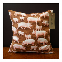Farm Yard Pig Print 12 x 12 inch Cushion Cover with Insert Pad