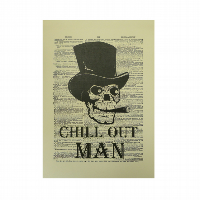 Vintage Inspired ' Chill Out Man ' Dictionary Page Art Print P004