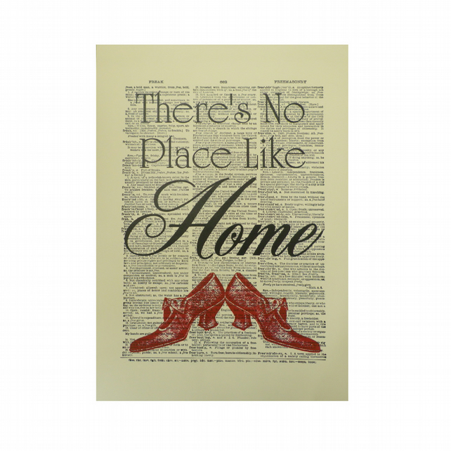 Vintage Inspired ' There's No Place Like Home '  Dictionary Page Art Print P009