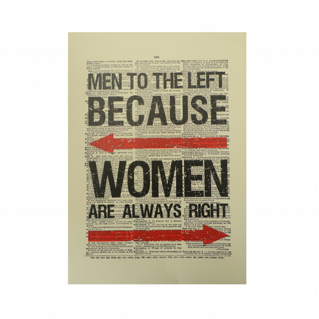 Vintage Inspired ' Men To The Left '  Dictionary Page Art Print P010