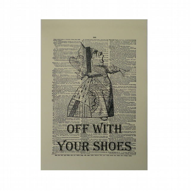 Vintage Inspired ' Off With Your Shoes '  Dictionary Page Art Print P012