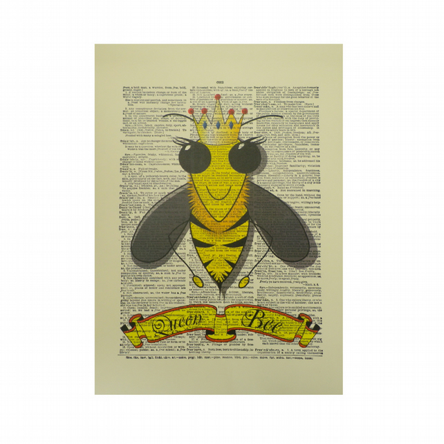Vintage Inspired ' Queen Bee ' ' Dictionary Page Art Print P014
